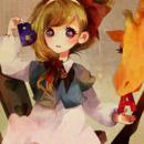 小女生卡通抱着熊娃娃